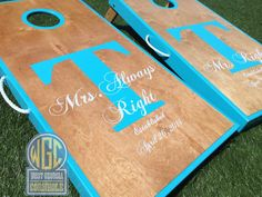 Mr and Mrs Real Birch Stained Custom Cornhole Board by WGCornhole