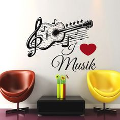 Wall Decals Music Decal Vinyl Sticker Guitar Musical Notes Pattern Decal  School Studio Home Decor Bedroom