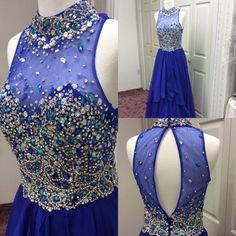 Royal Blue Prom Dresses 2015 Real Model Pictures A Line Beaded Crystals Chiffon Guest Gowns with High Neck And Keyhole Back Online with $175.35/Piece on Nicedressonline's Store   DHgate.com