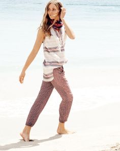 J.Crew women's vintage stripe tunic and drapey drawstring pant in geo print.