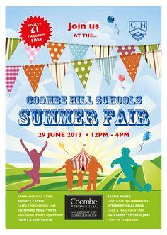 School Fete Poster Ideas Pta Fair Events Fun Spring Summer