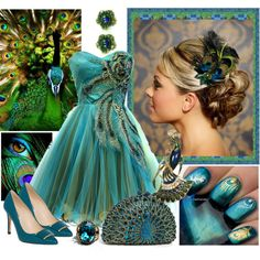 peacock blue and green wedding shoes | fashion look from August 2013 featuring L.K.Bennett pumps and Tasha ...