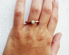 White opal copper and silver bezel ring. Simple and by Le7Lune