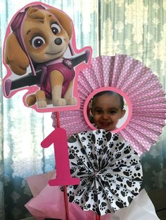 Paw Patrol Birthday centerpiece Sticks Skye Paw by FiestaPaperie