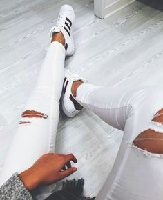 white jeans + #adidas superstars