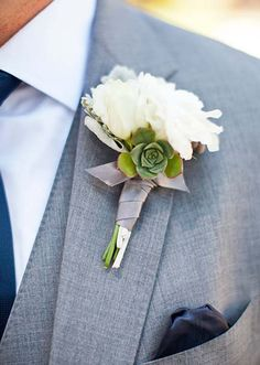 Inspirations, White Florals And Succulent Boutonniere: Lake Tahoe wedding - Lauren and Greg