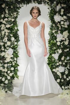 Dorchester - Anne Barge, Fall 2016 Collection. Wedding dress with contour straps, fitted silhouette, and tone on tone embroidery.