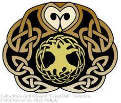 Celtic owl & tree of life tattoo