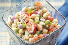 Chickpea Salad With Lemon Yogurt Dressing—Bring this protein-packed salad to work or school in a well-sealed container in a thermal lunch bag. Give it a shake just before opening to redistribute the creamy dressing. Chickpea Salad Recipes, Summer Salad Recipes, Summer Salads, Summer Food, Vinaigrette, Canadian Living Recipes, Barbecue Side Dishes, Barbecue Sides, Clean Eating