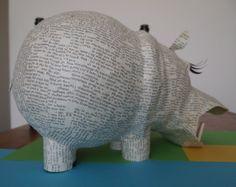 Hippo - paper mache sculpture - Janaki Lele