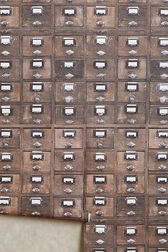 """""""Card Catalog Wallpaper,"""" by Debbie Mckeegan, via Anthropologie"""