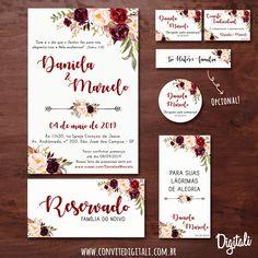 Floral Wedding Marsala Branding - Digital Art with Wedding Invitation . Wedding Card Sample, Wedding Invitations Uk, Wedding Invitation Templates, Invitation Design, Wedding Cards, Wedding List, Our Wedding, Floral Wedding, Wedding Colors