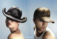 Hats made of natural hair.