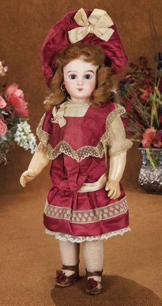 """French Bisque Bebe E.J. by Jumeau with Original Silk Costume and Bonnet 19"""" (48 cm.)"""