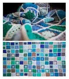Crochet Granny square baby boy Blanket