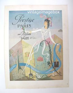 SAUZE 'Prestige' Parfum perfume advert, paper ad, Vintage advertising collectable, retro 1950s 50s era picture, home decor