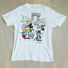 rare Vtg 80s French Fashion Mickey Minnie Mouse Paris Michel Bachoz T-Shirt S #Unbranded #GraphicTee