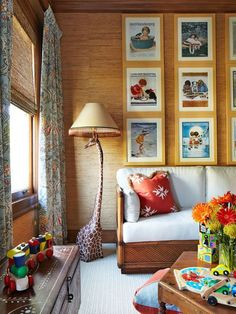 This is a nursery daybed and decor (I like the lamp and wall art. Idea for waiting room outside my professional office. Kid Spaces, Living Spaces, Small Spaces, Nursery Daybed, Giraffe Lamp, E Room, Little Girl Rooms, Red Cross, My Living Room