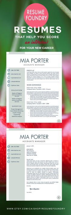 Modern Resume Template for Word, 1-3 Page Resume + Cover Letter + - nursing student cover letter
