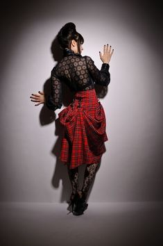 SteamPunk Custom Make Lilith Plaid Tartan Black Red High Waist Bustle Victorian Skirt