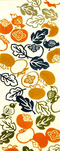"kenema Chusen Tenugui ""Tabemono"" Kaki Kuu Okyaku 36 x Kaki Kuu Okyaku (柿喰うお客): Guest eats persimmon Japanese Textiles, Japanese Patterns, Japanese Fabric, Japanese Prints, Japanese Design, Textile Patterns, Print Patterns, Textile Design, Japan Art"