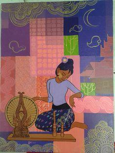 Soft Grunge Hair, Thai Art, Burmese, Sweet Memories, Traditional Design, Flowers In Hair, Art Drawings, Drawing Art, Art Reference