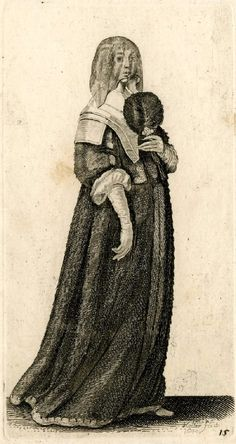 Wenceslaus Hollar (Czech artist, 1607-1677)  'Ornatus Muliebris Anglicanus. The severall 'Habits of Englishwomen, from the Nobilitie to the 'Country Woman, as they are in these times. 1640.'   An English lady with wavy hair standing whole length to right, holding a feather fan in her left hand; wearing a veil over her face, gown with broad collar, and gloves.