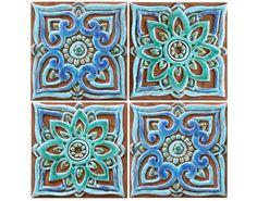Set of 6 Ceramic tiles, Bathroom tiles, Decorative tiles, Outdoor ...