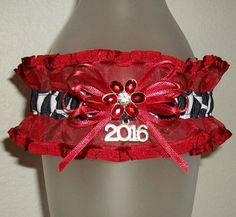 Black White Silver and Red Organza Cow Print Flower 2016 Western Country Prom or Wedding Garter
