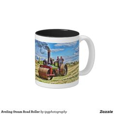 """Aveling Steam Road Roller Two-Tone Coffee Mug Aveling and Porter road roller regd. KR478, """"Dick Turpin"""", built 1929 and supplied to Barnes Brothers of Southwick, Trowbridge (Wiltshire, UK)."""