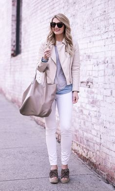 White leather moto jacket for the weekend!