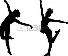 Enfants de danse silhouette Banque d'images