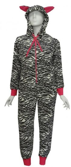 Black And White Zebra Plush Onesie Hooded Pajama for women Best Pajamas, Pajamas Women, Women's Pajamas, One Piece Pajamas, White Zebra, Guys And Girls, Zebra Print, Sexy Outfits, Pajama Set