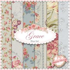 Mary Rose Grace  6 FQ Set - Blue by Quilt Gate Fabrics: Mary Rose Grace is a shabby style collection from Quilt Gate Fabrics.  100% cotton.  This set contains 6 fat quarters, each measuring approximately 18 x 21.