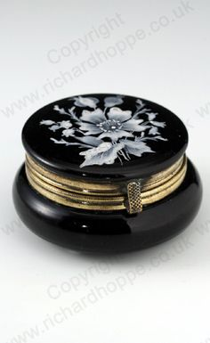 ANTIQUE GLASS BOX. c.1880 ENAMELLED BLACK AMETHYST HINGED DRESSING TABLE POT BOX. To visit my website click here: http://www.richardhoppe.co.uk or for help or information email us here: info@richardhoppe.co.uk