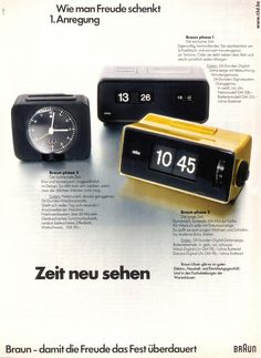 1972 Braun Phase 1-2-3 German Ad. Phase 1, Design by Dieter Rams and Dietrich Lubs in 1971 Phase 2, Design by Dietrich Lubs in 1972 Phase 3, Design by Dietrich Lubs in 1972