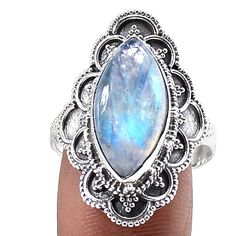 Rainbow Moonstone 925 Sterling Silver Ring Jewelry s.10 SR197356