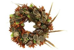 Fall Pods with Feathers Wreath - Knud Nielsen Company - Brands Lotus Pods, Feather Wreath, Wreaths And Garlands, Pheasant Feathers, Fall, Beautiful, Autumn, Feather Crown, Fall Season