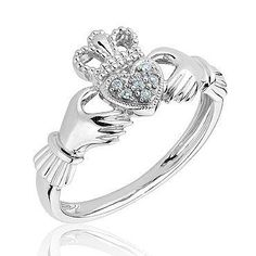 Sterling Silver and Diamond Claddagh Ring - Item 19069673   REEDS Jewelers