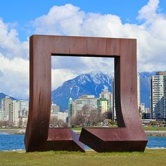 Window to the City. Kits Pt sculpture frames the west end of Vancouver and Grouse Mountain by Larissa Sayer O Canada, Canada Travel, Alaska, Ottawa, Places To Travel, Places To Visit, Statues, Orlando, Roadside Attractions