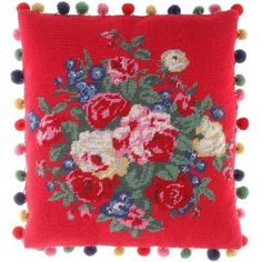 new rose bunches tapestry cushion from cath kidston $75 (we have one quite similar but not with pom-poms!!)