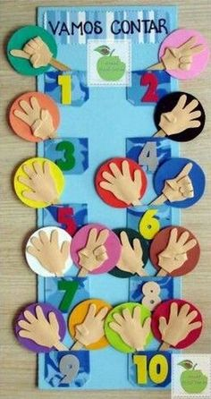 PAINEL PEDAGÓGICO PARA APRENDER A CONTAR – EVA The numbers were created based on the number of our fingers, for this reason, that the numerical base is I found this image interesting to teach students in the early years to count. Kindergarten Math, Preschool Activities, Preschool Projects, Felt Projects, Craft Projects, Sewing Projects, Math For Kids, Crafts For Kids, Busy Book