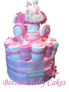 Sweet Treats Baby Girl Diaper Cake Baby Gift by BottomBabyCakes