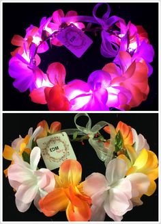 Pink-LED flower crown/floral headband light up flower by EDMfairy