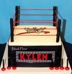 WWE themed birthday cake. Fondant and Hand Drawn Design