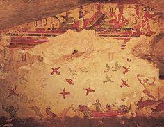 Etruscan fresco in the Tomb of Hunting and Fishing, Tarquinia century BC) Mycenaean, Minoan, History Images, Art History, Ancient Art, Ancient History, Art Romain, Art Antique, Bright Paintings