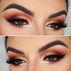 Get inspired with these gorgeous fall makeup look ideas! Create your perfect fall makeup look by recreating these beautiful fall makeup ideas! # fall makeup Fall Makeup Look Ideas: Makeup Inspiration for Fall - liana desu Eye Makeup Glitter, Smoky Eye Makeup, Cat Eye Makeup, Glam Makeup, Bridal Makeup, Eyeshadow Makeup, Wedding Makeup, Dramatic Makeup, Makeup Art