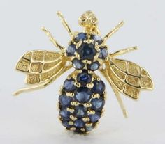 Vintage Estate Sapphire Bee Bug 14k Gold Pendant Pin Brooch Fine Insect Jewelry | eBay