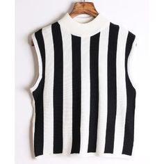 Chicnova Fashion High Neck Sleeveless Stripes Short Knitwear ($22) via Polyvore