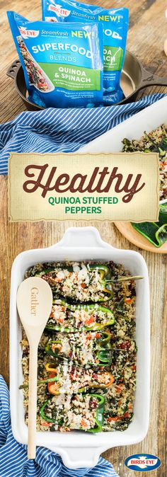 The secret to putting a good-for-you meal idea on the table? This recipe for Healthy Quinoa Stuffed Peppers! BIRDS EYE® Steamfresh® Quinoa & Spinach Superfood Blends, poblano peppers, and a creamy dressing, whipping up a dish the whole family will love has never been easier. And by finding everything you need at The Kroger Family of Stores, you'll be adding this 3-ingredient combination to your meal prep list in no time.